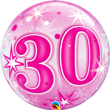 30th Pink Stars Bubble Balloon